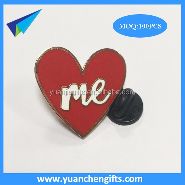 Rose gold plating heart enamel pin with black rubber postings