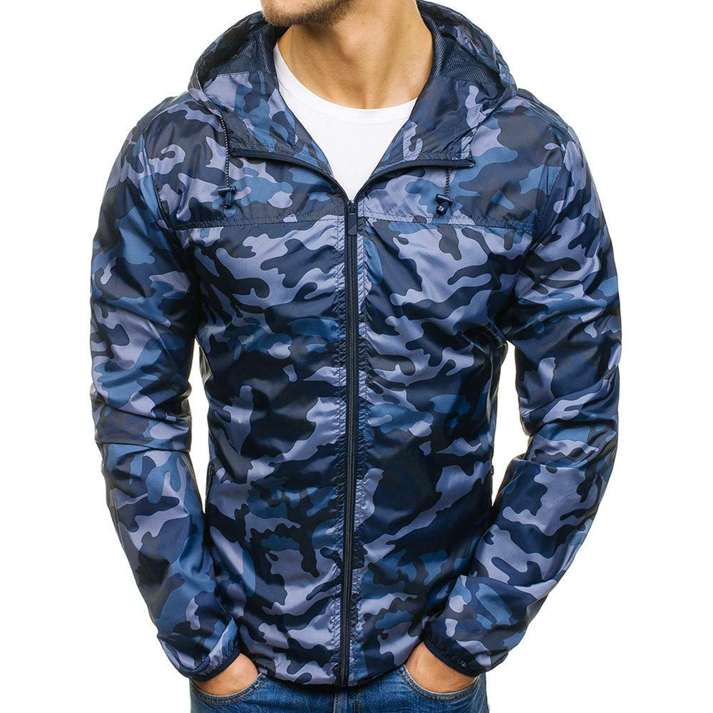 NRUTUP Sweatshirt Men, Mens Autumn Winter Zip Casual Slim Pocket Fit Hoodies Coat Camouflage Jacket