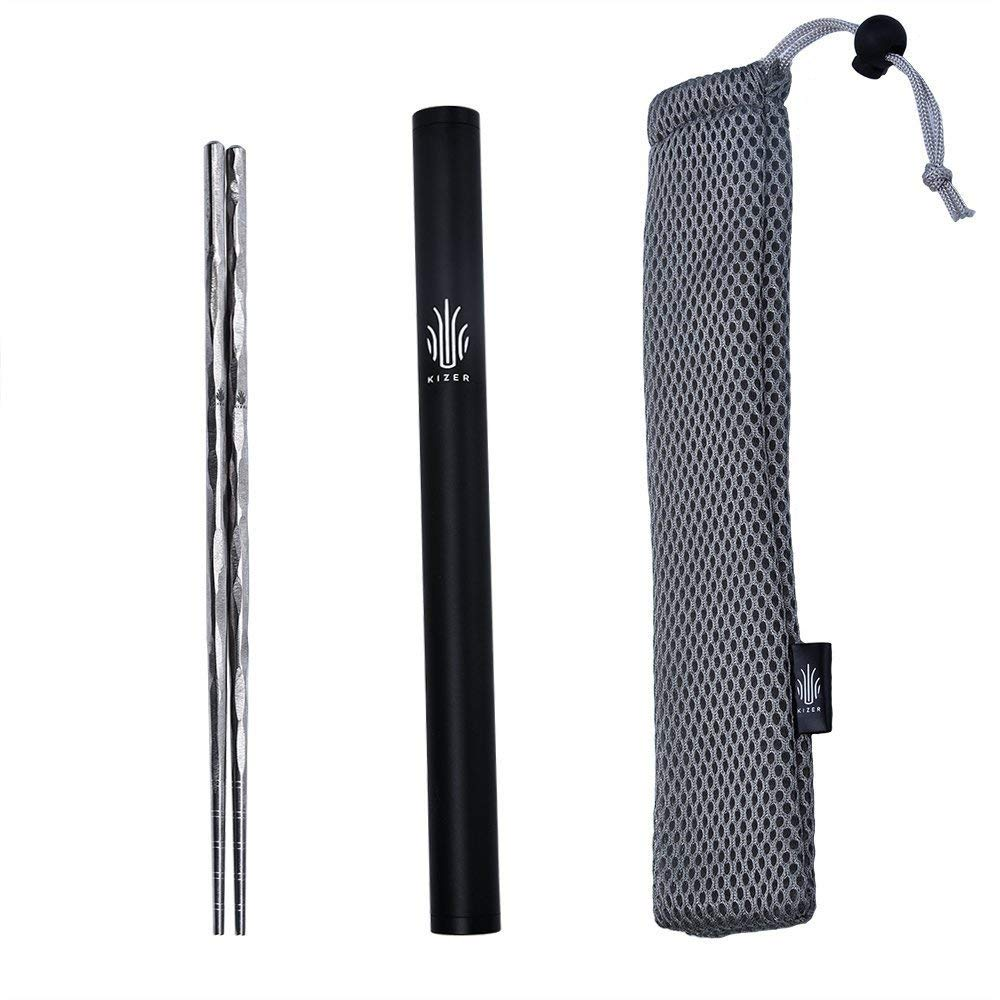 KIZER Titanium Chopsticks Outdoor Tableware Camping Picnic Hiking Handmade Chopsticks