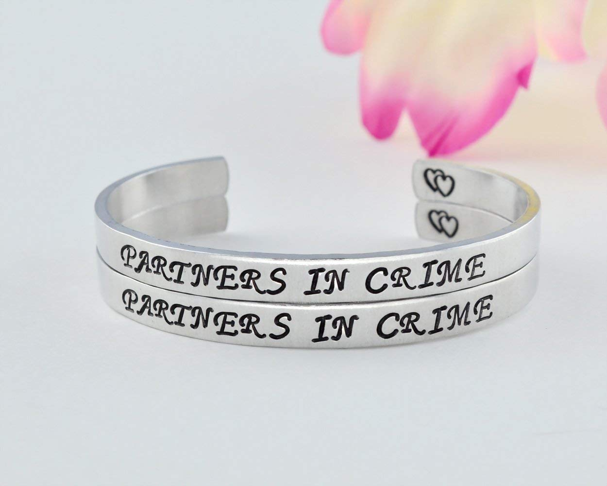 PARTNERS IN CRIME - Hand Stamped Aluminum Cuff Bracelets Set of 2, Sorority Sisters Best Friends BFF Besties Gift, Personalized Bridesmaid Gifts