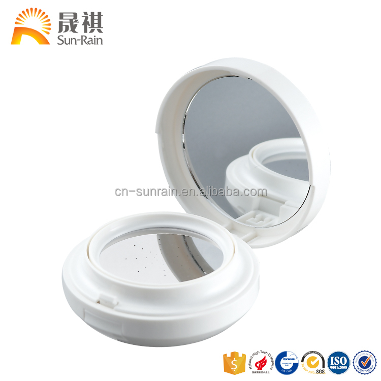 Young lady white cosmetic air cushion bb foundation case for make up packaging