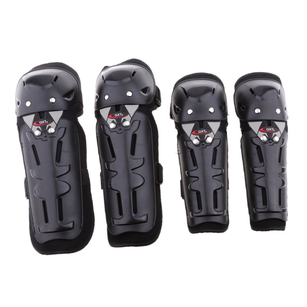 Dovewill 4 Piece Motorcycle Motocross Adults Knee Pads Guard Set Black Universal