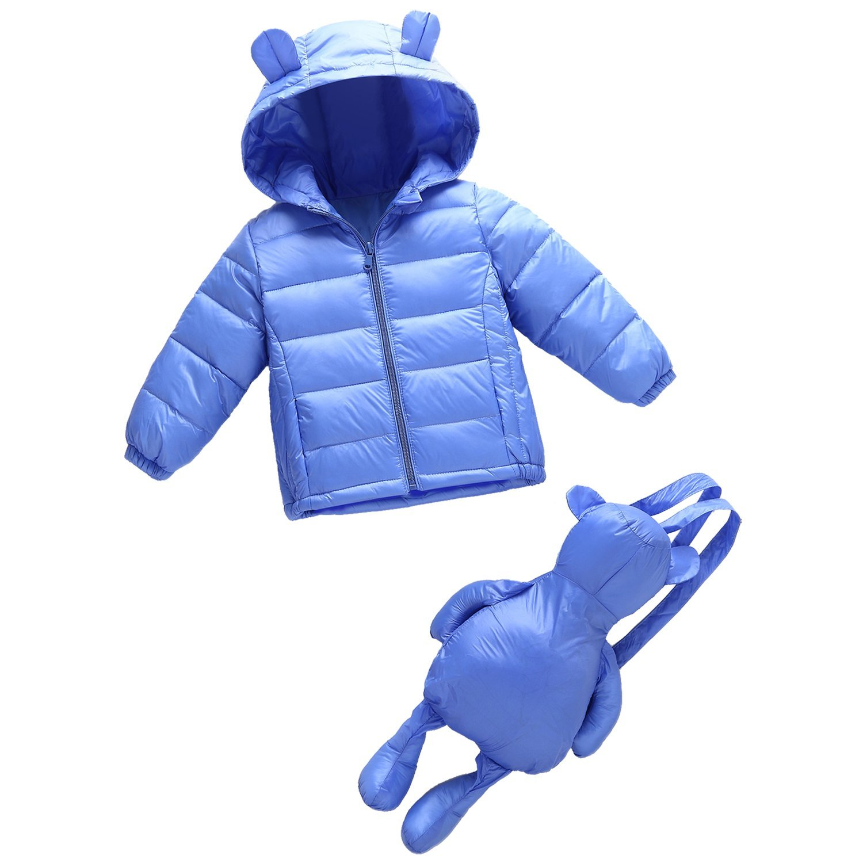 Baby Girls Boys Kids Unisex Hooded Packable Down Puffer Jacket+Little Bear Backpack