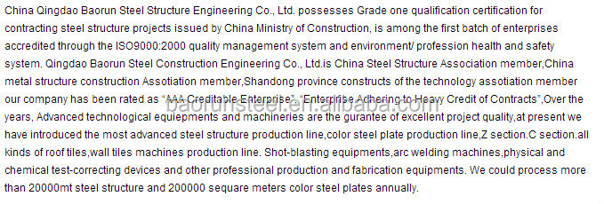 China supplier steel structure workshop with crane for Asia and Africa and south America