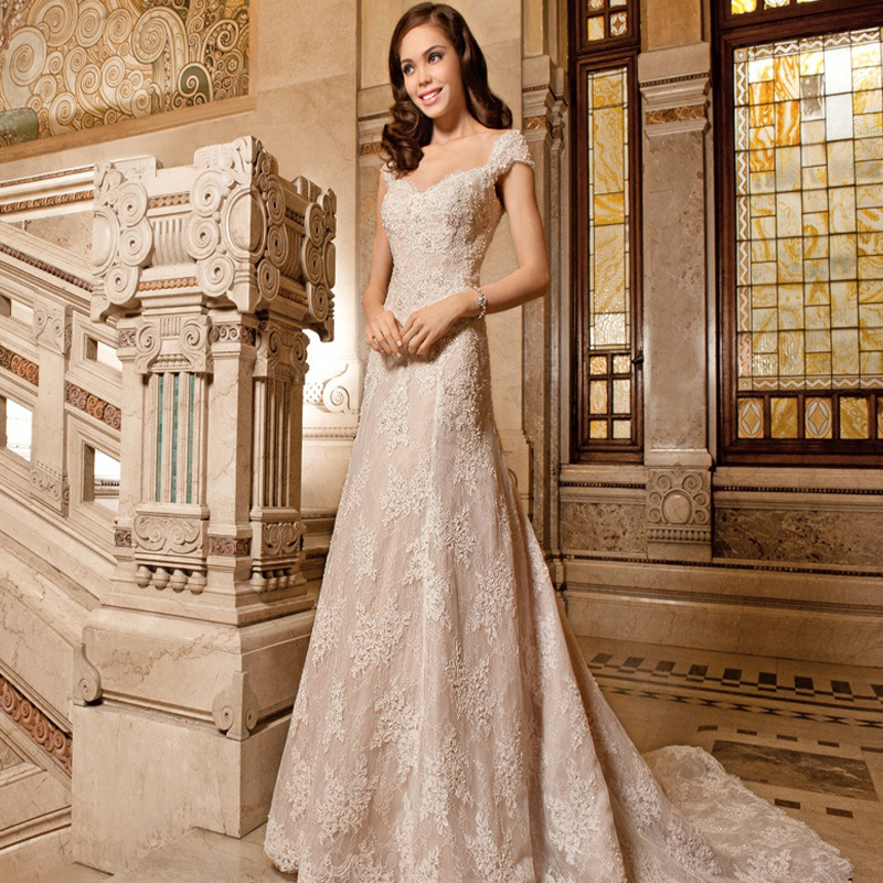 Champagne Vintage Wedding Dresses: Vestido De Noiva Renda Sexy Champagne Wedding Dress Bride