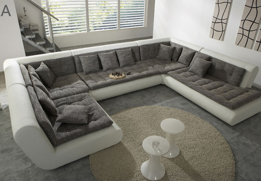 Modern U Shaped Sectional Sofa Fabric Leather Sofa Set New Designs 2015 New  Model Sets Pictures