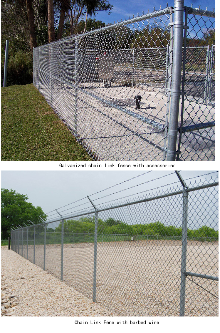 60*60 mm mesh 9 gauge galvanized used chain link fence for sale