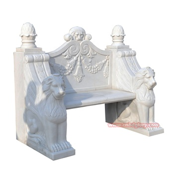 Stone Carving Products Marble Lion Statue Outdoor Garden Bench