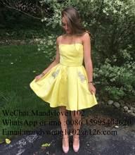 Элегантное желтое атласное выпускное платье 2019, сексуальное короткое платье до колен с открытой спиной, бальное платье с карманом(Китай)