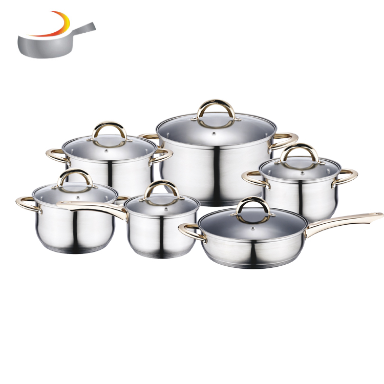 High Quality masterclass premium custom 12 pcs stainless steel 201 cookware in Russia market cookware sets kitchen