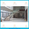 stainless steel curved stair with wood tread and glass railing wood tread indoor staircase