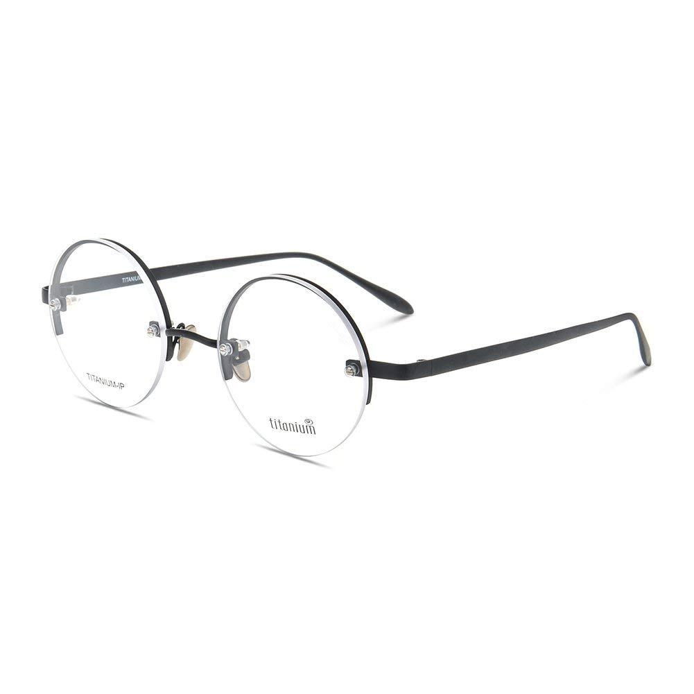 28476927ce1 Get Quotations · Vintage Round Titanium Eyeglass Frame Semi Rimless Eyewear  Frames Optical