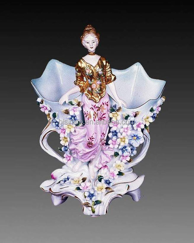Fair Lady With Colorful Flower Decorated Vase, Creative Designed Flower Holder
