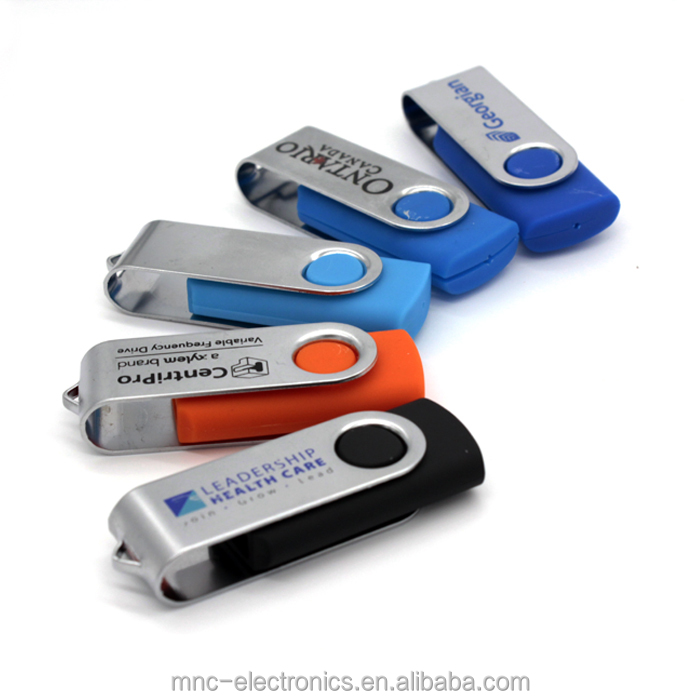 Most popular trade show promotional gift custom logo printed 4GB swivel type usb key