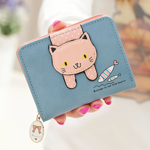 Ladies high-end pu cat short multi-function wallet student mini cute zipper wallet Korean fashion explosions ladies wallet