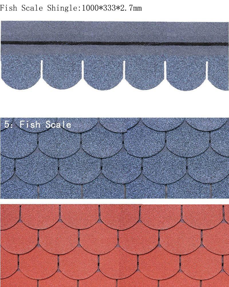 Fiberglass Red Fish Scale Asphalt Shingle Architectural