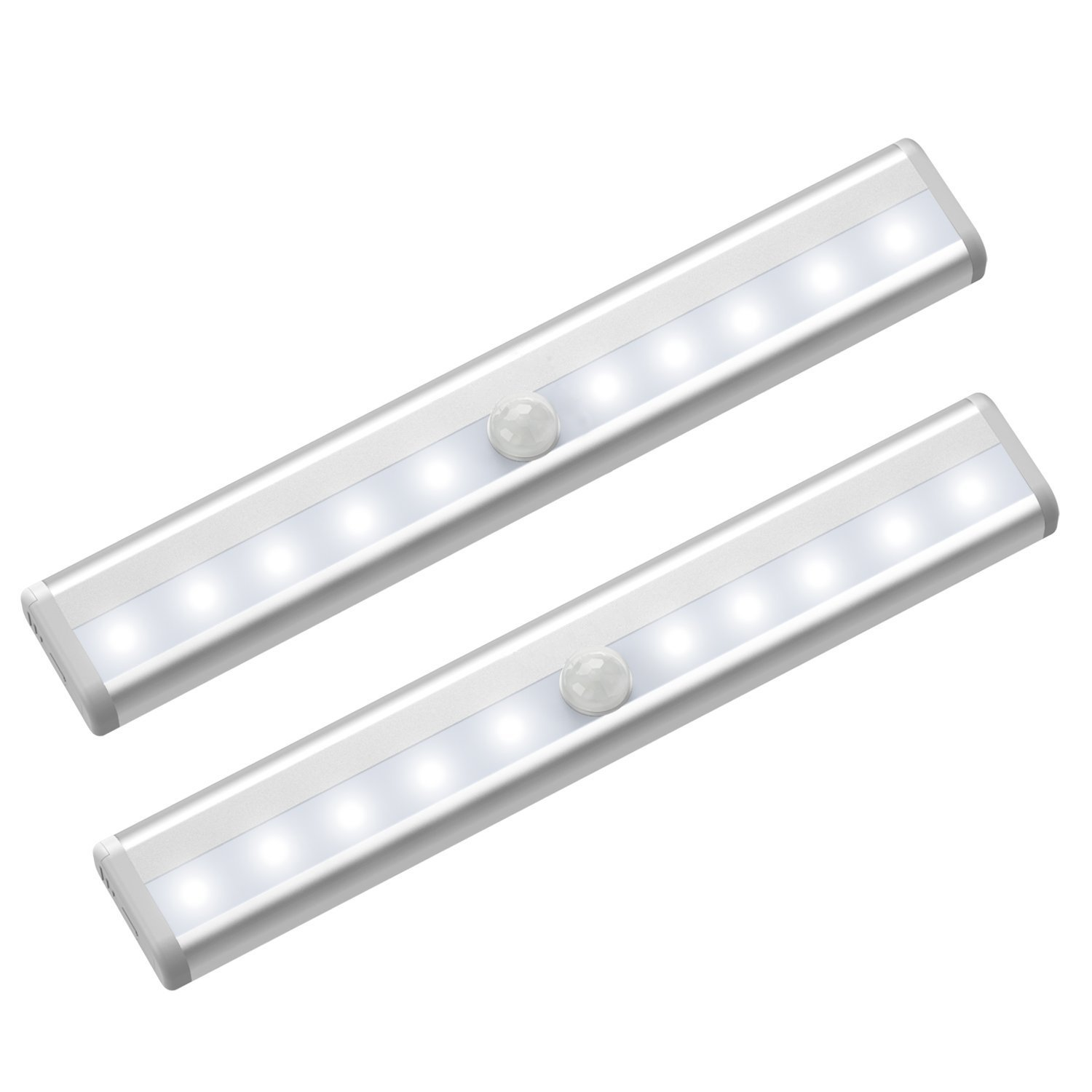 FEICAN Motion Sensor Closet Lights,Cabinet Light,DIY Stick-on Anywhere Portable Wireless 10 LED Wardrobe/Stairs/Step Light Bar,LED Night Light,Safe Lights with Magnetic Strip(2 Pack,Battery Operated)