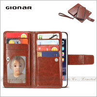 Gionar Brands Large Volume Men Vintage Leather Card Holder Mobile Wallet Phone Case
