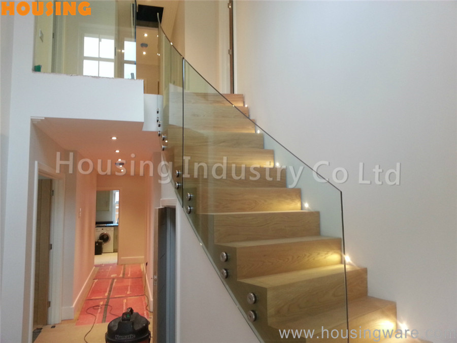 wooden stair patch fitting glass railing glass. Black Bedroom Furniture Sets. Home Design Ideas