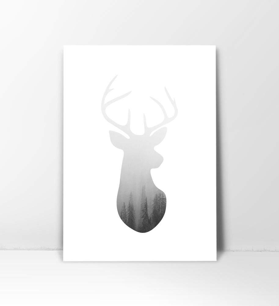 Dear Print, Deer Head Wall Art, Deer Art, Gray Animal Head, Forest decor, Boy Nursery Wall Art, Woodland Decor, Animal Head, Gray Forest Wall Art, Woodland Art Print, Deer Wall Print, 8x10