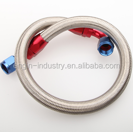 """48/"""" 90° 10AN SS Braided Racing Performance Oil Fuel Coolant Line Hose Assembly"""