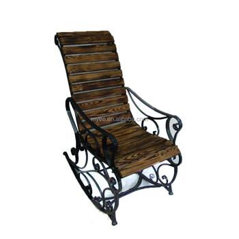 Antique Metal And Wood Deck Chair Rest Garden Yard Furniture Rocking Chair