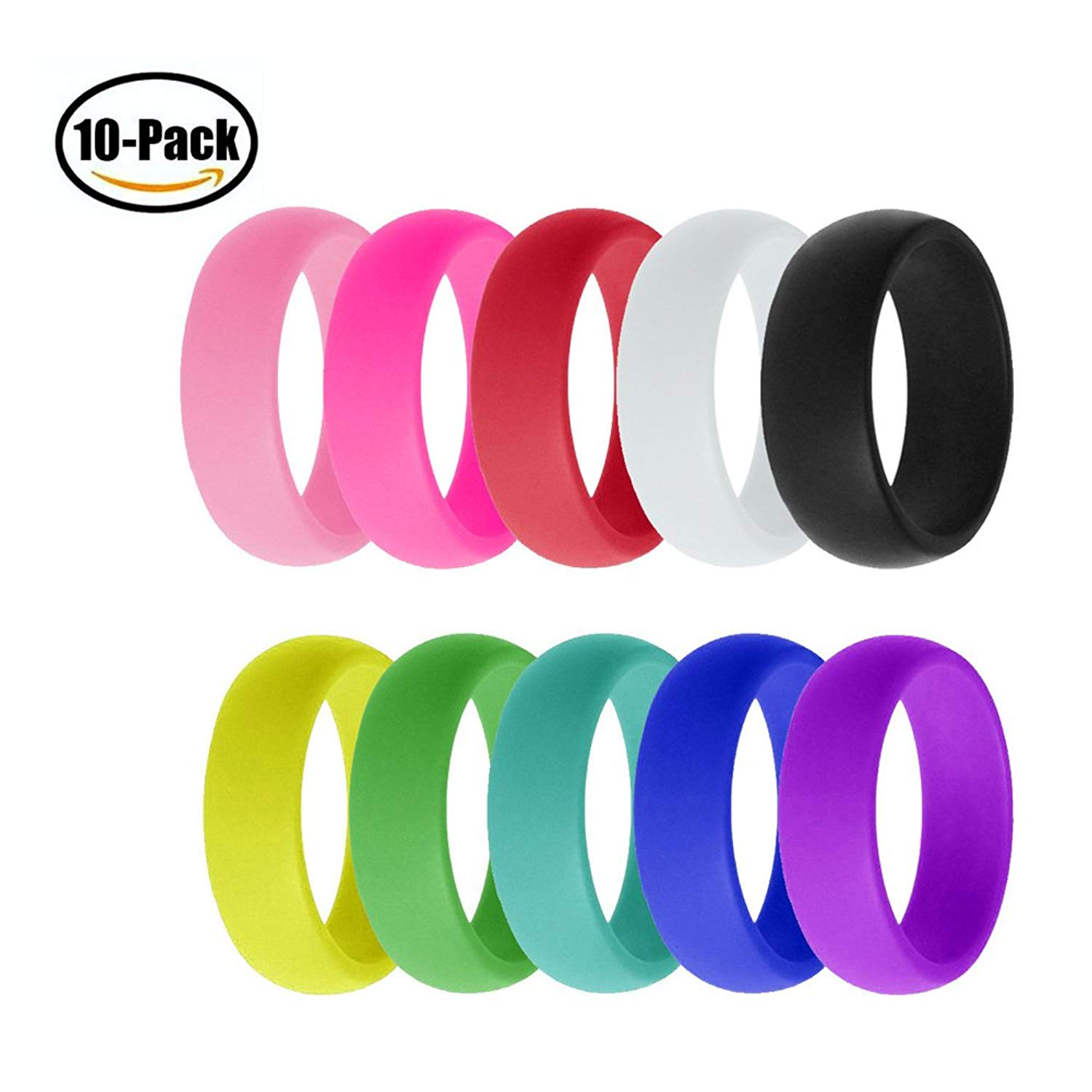TINXOO 10 Pack Silicone Wedding Ring for Men Women, Premium Medical Grade Wedding Bands Thin and Stackable Durable Comfortable Antibacterial Rubber Rings