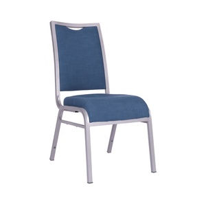 China Manufacturing Commercial Furniture Blue Linen Fabric Stacking Wholesale Banquet Chairs