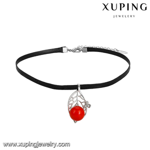 44044 xuping most popular leather pearl jewellery necklace for women