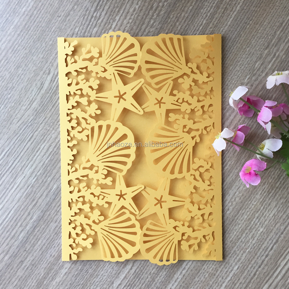 100pcs/lot Beach wedding invitations Shell and Sea Star Wedding cards 2018 new style wedding invitation card24 colors for you