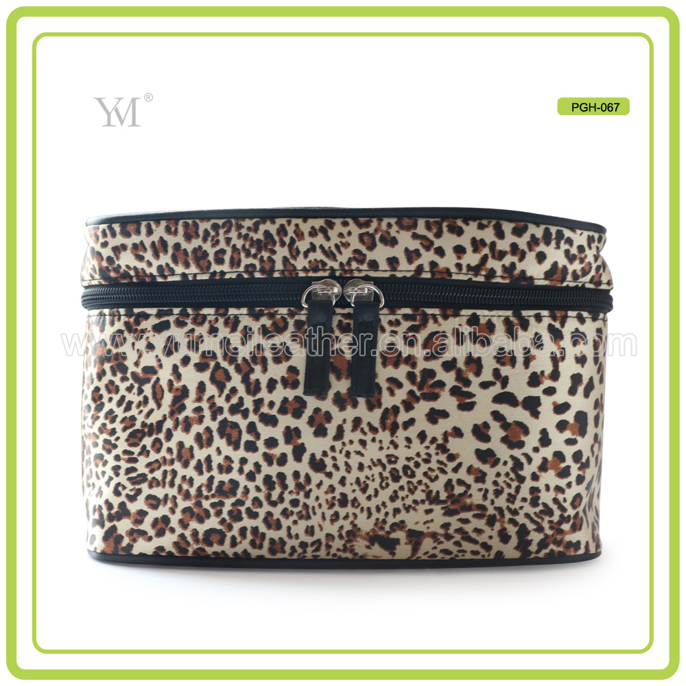 New Model Leopard Print Toiletry Fashion Vanity Bag With Zipper And Logo