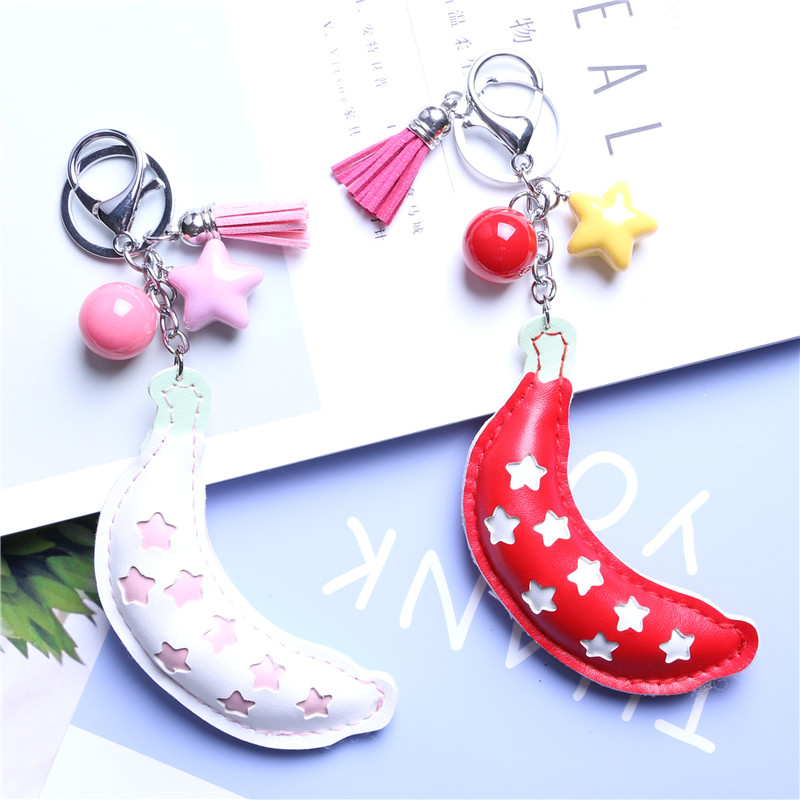 Design Wholesale  personalized keychain promotion  banana style pu keychain