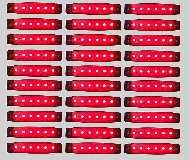 flexzon 30 Pcs Set 12V SMD 6 LED Red Rear Side Marker Light Position Truck Trailer Lorry