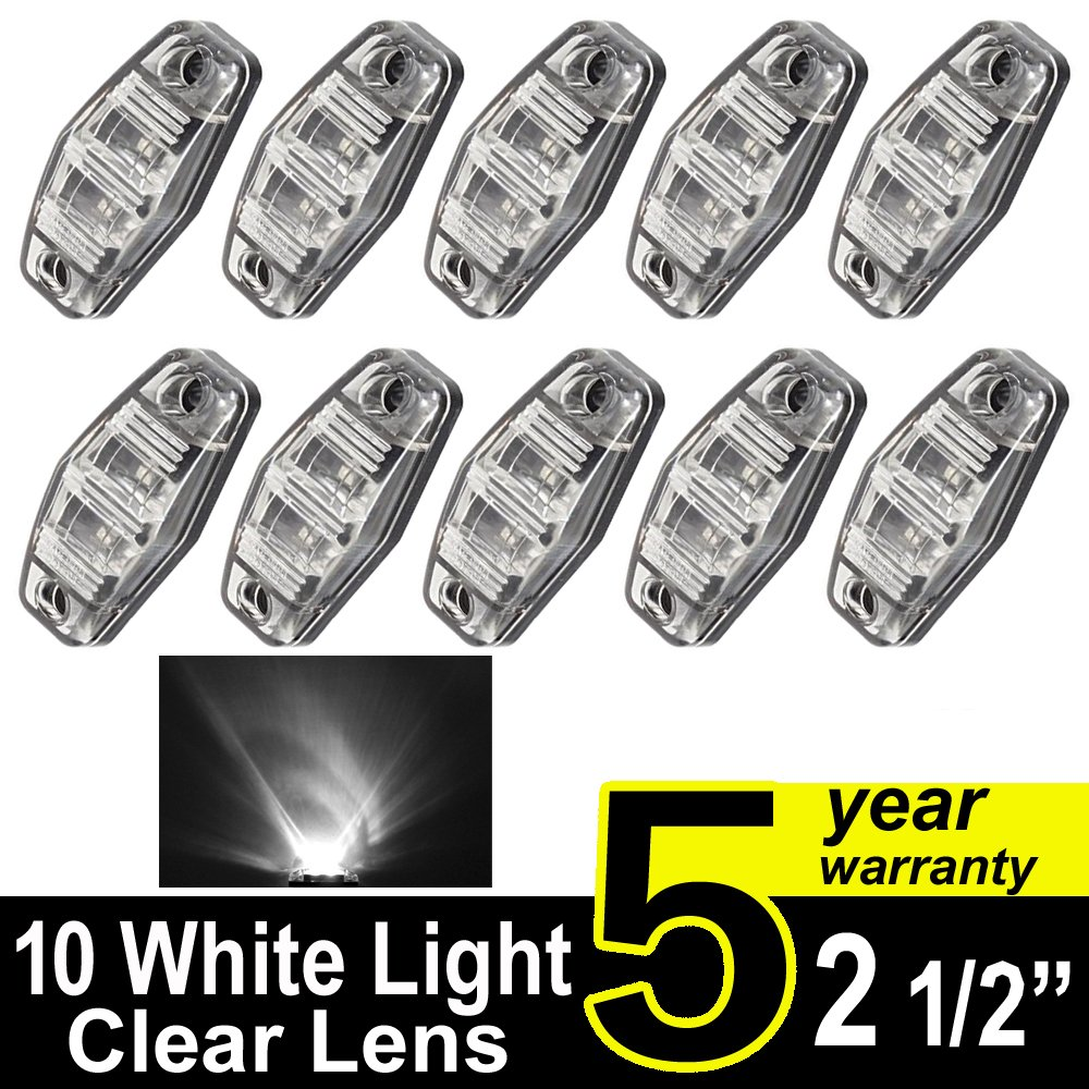 "10 pcs TMH 2.5"" 10 pcs White Light & Clear Lens Super Flux Side Led Marker, Trailer marker lights, Led marker lights for trucks, RV Cab Marker light Red, Rear side marker light, Surface Mount LED"