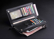 2016 New Business Long Designer Men s leather wallet with zipper Man Purse with Coin Pocket