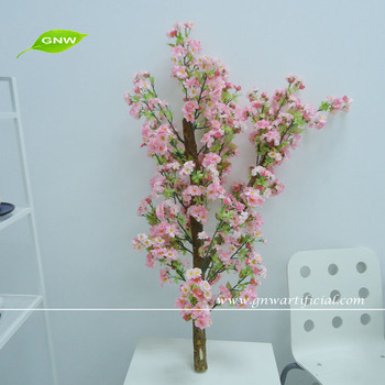Bls046 Gnw Whole Artificial Silk Decorative Pink Cherry Blossom Sticks For Vases