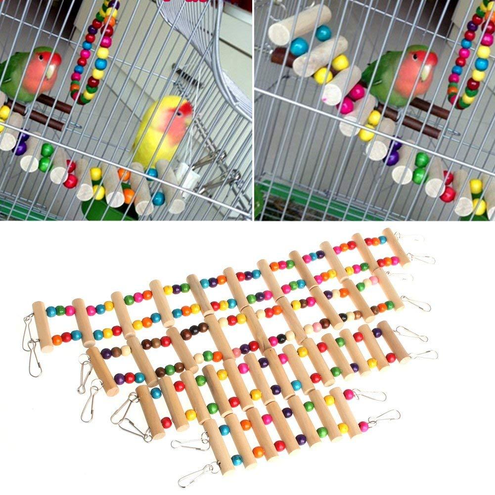 NNDA CO Flexible Fun Wooden Mouse Hamster Ladder Crawling Bridge Pet Parrot Bird Toy,Wood+Steel rim,48CM,1 Pc