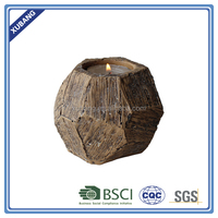 Poly Resin Wood Carving Finish Fashion Candle Holder Home Decoration