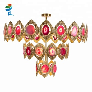 European style brass red agate three layers Energy Saving chandelier