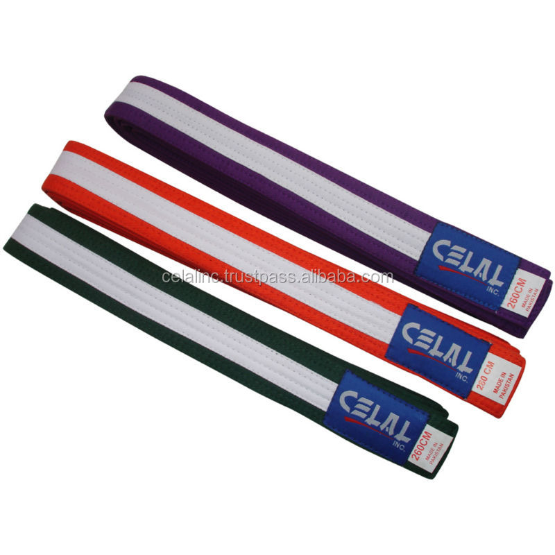 Striped Taekwondo Belts Karate Belts for Sale