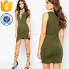 Wholesale women lace up front sleeveless mini dress with wrap skirt for girl and ladies