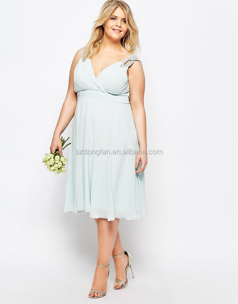Chiffon fabric midi dress with embellished shoulders plus for Plus size midi dresses for weddings