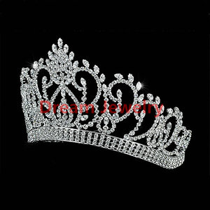 "Indian Crowns Vintage Style Pageant Beauty Contest Tall 4.5"" Tiara Full Circle Round Crystal Crown"