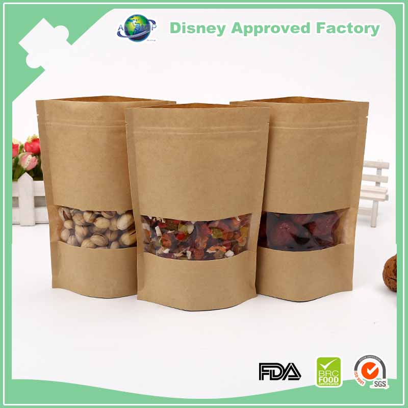 Custom printing stand up kraft paper bag with window