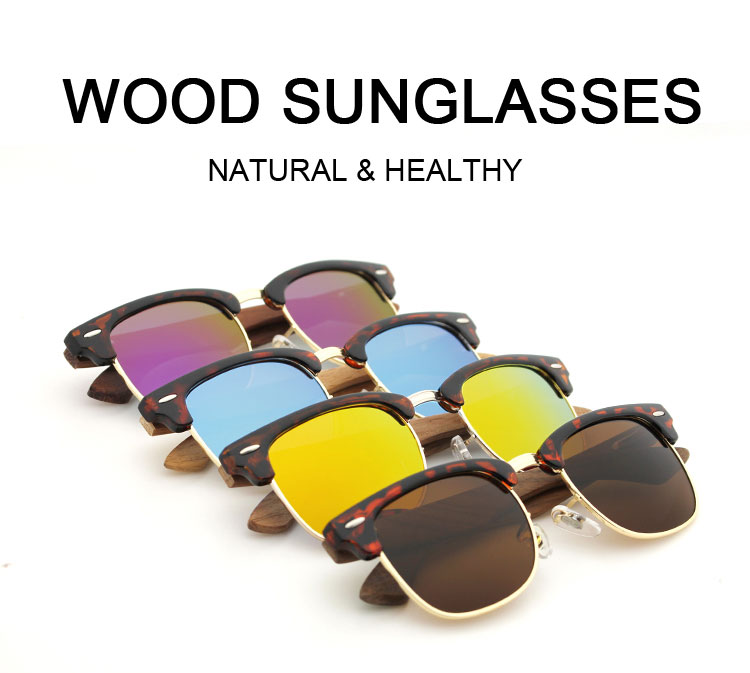 e84715a1df16d Newest design Bamboo Sunglasses with PC frame Wooden sunglasses Spring Arms  small order italian design