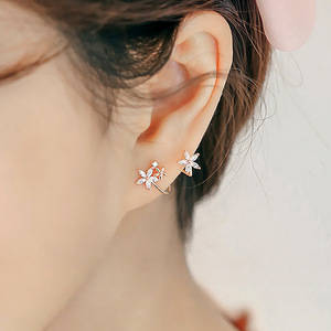 silver crystal flower ear cuff