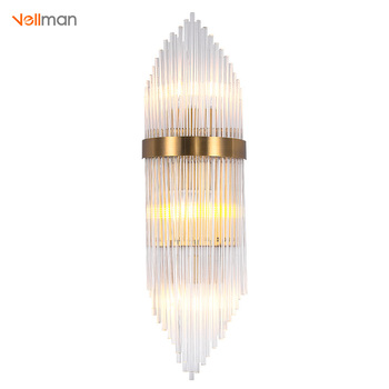 Vellman Crystal Wall Sconce Bedroom Lamp With Switch Livingroom Led Light Hotel Gold