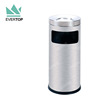 DB-35J Leading Factory Stainless Steel Tilt Cover Round Dustbin, Commercial Metal Trash Bin with Ashtray 4 gallons/15 L