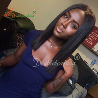 Top Grade Virgin Human Hair Lace Closure 4X4 Straight Hair Middle Free Three Part With Natural Black