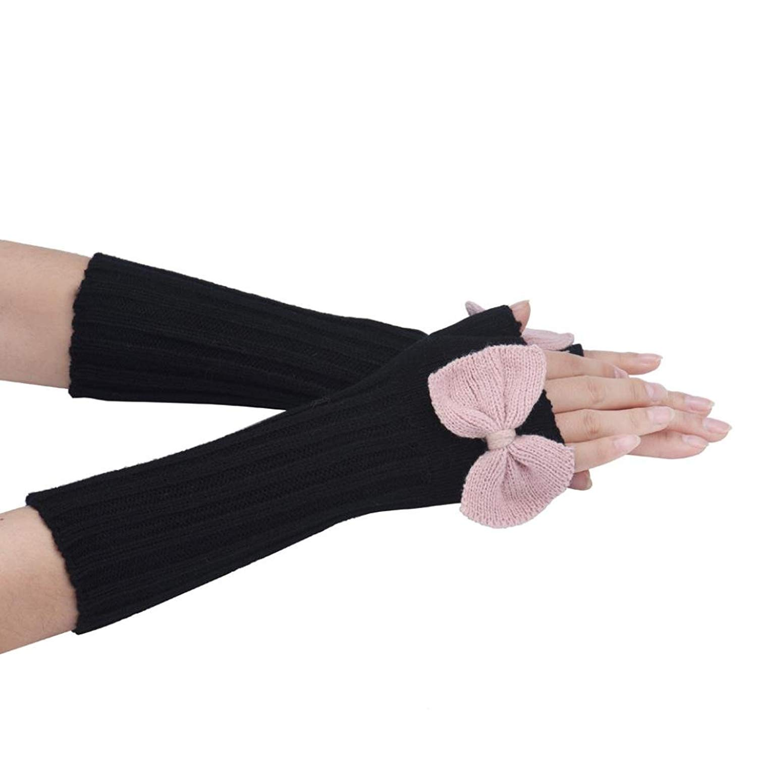 Creazy Women's Warm Winter Bowknot Knitting Half Fingerless Gloves
